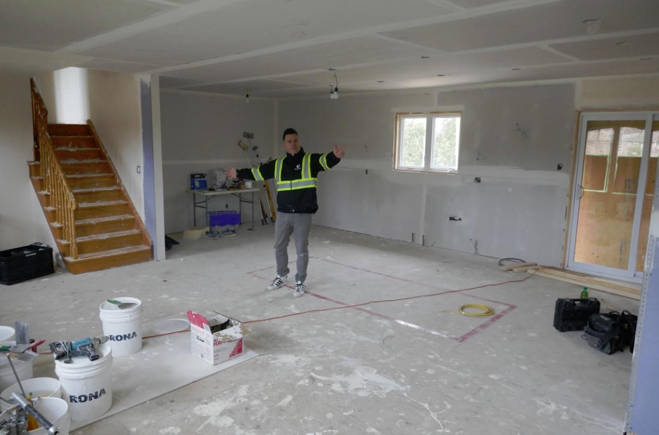 Keith in remodeling kitchen in split side house in Burlington