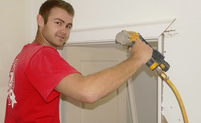 trims closet door, carpentry apprenticeship