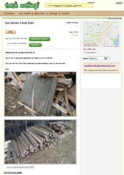 free wood in burlington demolition site